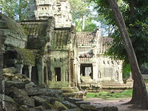 green stone of old ruin khmer temple,  ta prohm, bayon, angkor t