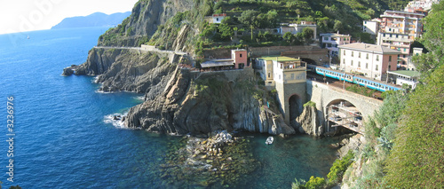 railway station of riomaggiore village over the blue sea, the ci
