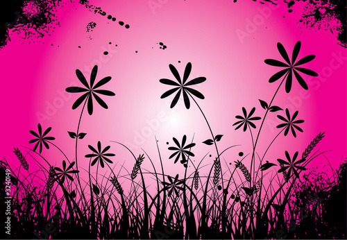 Fotobehang Roze grunge grass and flower