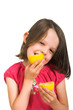 girl licking lemon