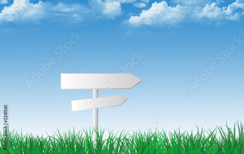 a sign with grass in blue sky