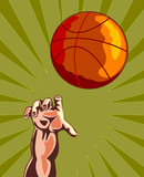basketball hand reaching for ball poster
