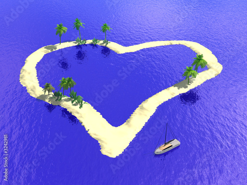 Leinwanddruck Bild island heart