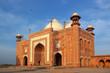 red mausoleum in taj mahal