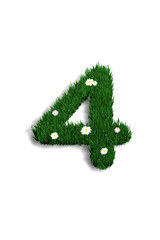 chiffre 4 pelouse fleurie