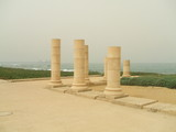 columns of roman capital city/caesarea on beach poster