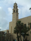 tower of a church in jaffa city in israel. poster