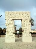 sculpture in jaffa city/israel poster