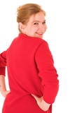 businesswoman in red looking over shoulder poster