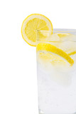 sparkling ice water with slices of lemon poster