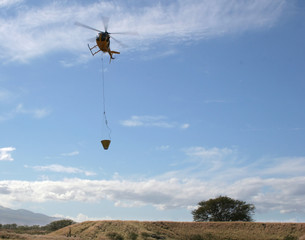firefighting helicopter in flight