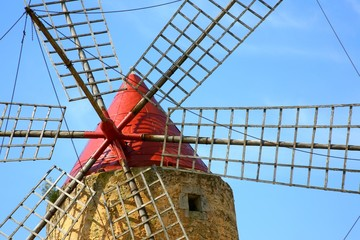 detail of a red windmill