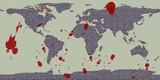 world violence global grunge map poster