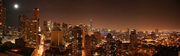 chicago aerial night pano