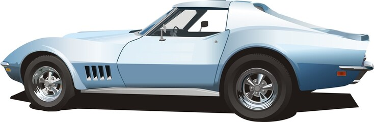 pale blue areican sports car