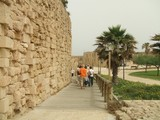 Tourists leaving an ancient/ historical area in Caesarea  poster