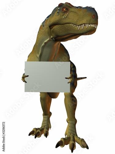 Poster t-rex mit schild