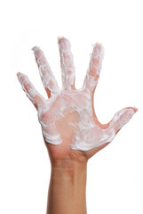 soaped hand