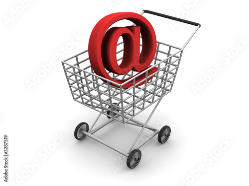 consumer's basket and symbol of the internet