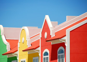 brightly colored building front