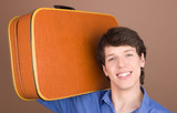 young traveler with suitcase poster