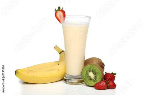 banana milkshake with fruit composition