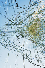 web of splits on the triplex windscreen