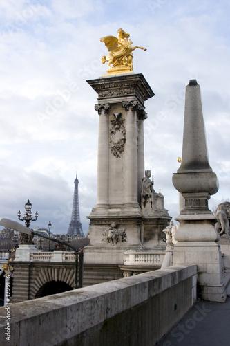 column of alexander iii bridge and eiffel tower