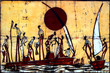 Quadro African art batik wall decoration with people and sail boats.