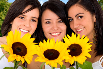 beautiful girls with sun flowers