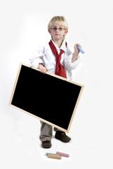kid with blackboard
