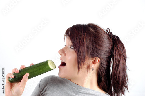 woman with cucumber