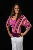 hispanic woman in her 30s in bright color attire poster