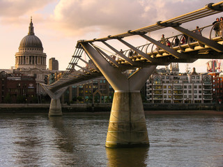 st. paul's cathedral and millenium bridge at dusk