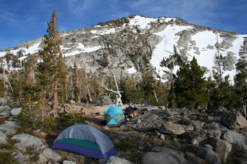 camping in the mountain