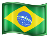 brazil flag icon. (with clipping path) poster