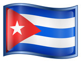 cuba flag icon. (with clipping path) poster