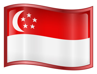 singapore flag icon. (with clipping path)