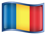 romania flag icon. (with clipping path) poster