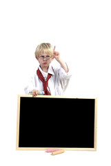 toddler with black-board