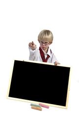 angry kid with blackboard