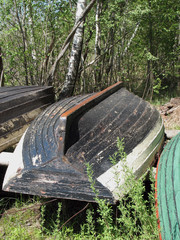 old wood boat at the summer forest.