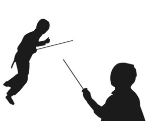 profile of two fencers