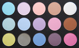 palette of dry pastel color shadows. poster