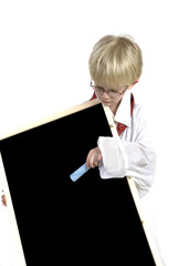 toddler with blackboard
