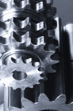 gear machinery in metallic blue poster