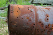 rusty 50 gallon drum