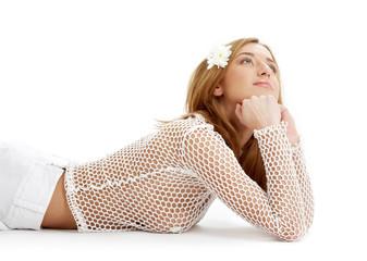 white fishnet girl with flower