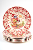 antique dinner plates stacked poster