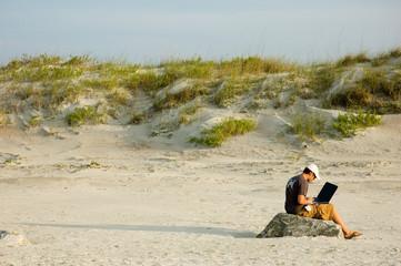 telecommuter on a beach working 4